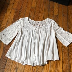 white quarter length blouse